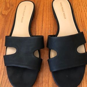 Who What Wear black suede sandals